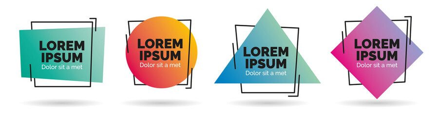 Set of modern abstract vector banners. Geometric shapes of different colors with black outline design - Vector