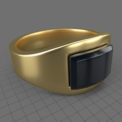 Mens wedding ring with gemstone