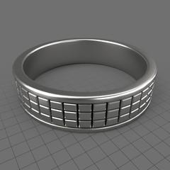Cube ornamentation mens wedding ring