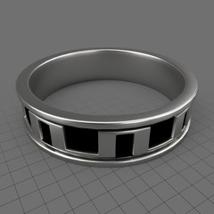 Silver arches mens wedding ring