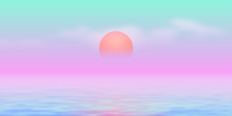 Photo on textile frame Purple Sun over the sea with sun road and vaporwave 90s styled blue and pink colors