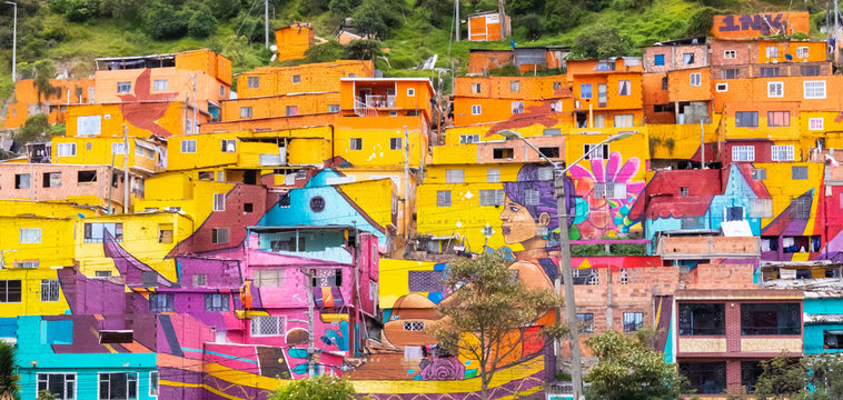 Colombia South Bogota colorful houses in district called Los Puentes