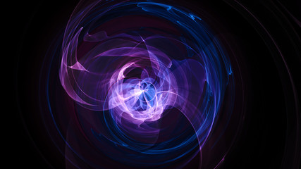 Abstract energy ball. Luminous nuclear model on dark background. Glowing energy ball. Nuclear reaction element. Close up swirling pink and blue smoke on black background. 3d rendering.