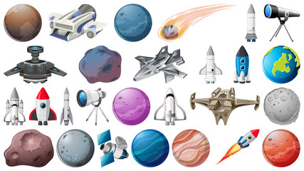 Set of planets, rockets and space obejcts