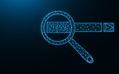 Search news on the Internet poly design, magnifying glass and search box abstract geometric image, SEO wireframe mesh polygonal vector illustration made from points and lines on dark blue background