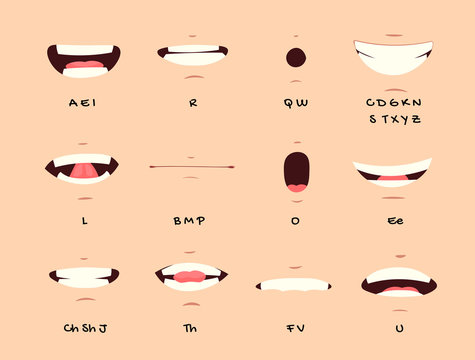 Cartoon talking mouth and lips expressions vector animations poses. Accent and pronunciation speak, tongue and articulate illustration