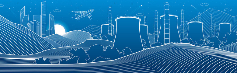 Outline industry illustration panoramic. Night city scene. Power Plant in mountains. White lines on blue background. Vector design art