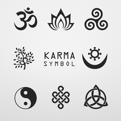 karma symbol lotus  buddhist icon