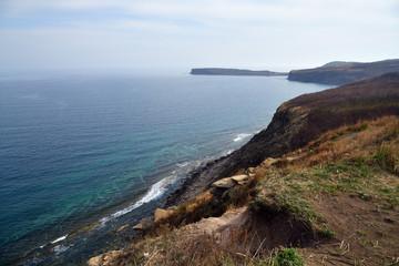 Russky Island, Far East of Russia. Vladivostok. Cliffs above the sea of Japan