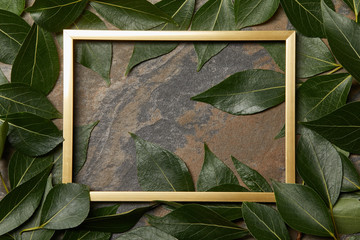 top view of golden frame on stone background with copy space and green leaves Wall mural