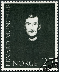 NORWAY - CIRCA 1963: A stamp printed in Norway shows Self-Portrait by Edvard Munch (1863-1944), artist, paintings
