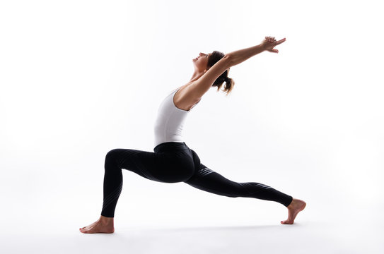 Yoga poses on white background, copy space