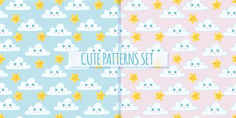 Set of cute clouds patterns