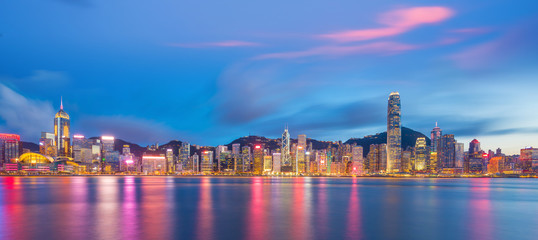 Panoramic view of Victoria Harbor and Hong Kong skyline Fotomurales