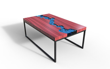 3d Illustration of river epoxy table on a white background
