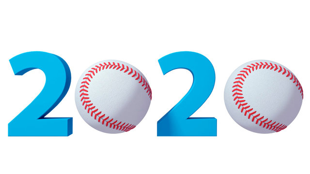Baseball 2020 design background on a White Background. 3d illustration