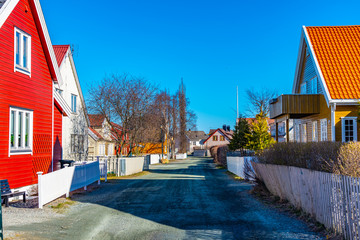 Typical wooden houses in a residential district of Trondheim, Norway