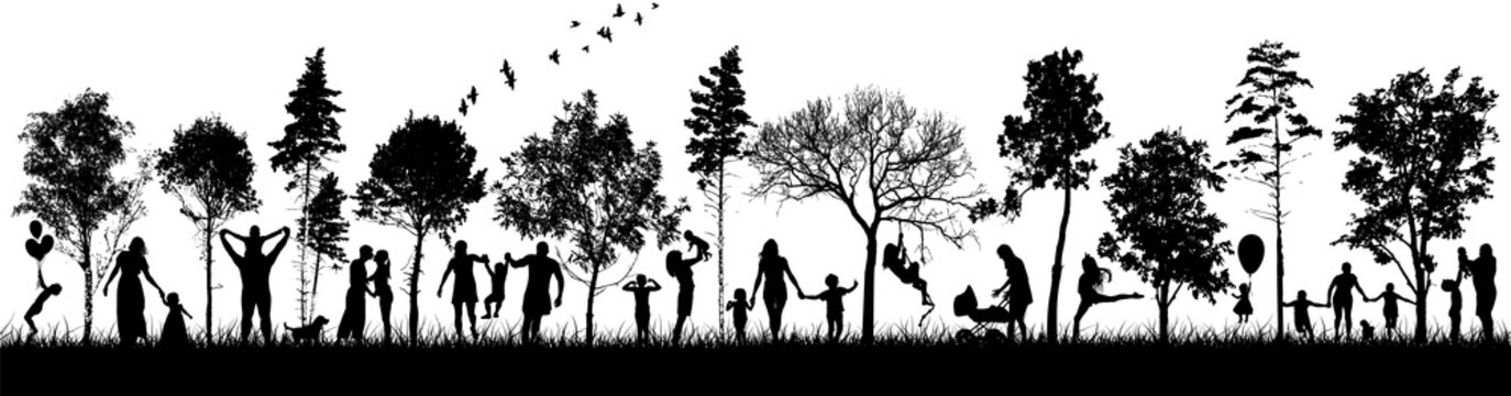 Silhouettes of people in nature. Happy families together. Vector