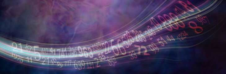 Flowing stream of Solfeggio and Numerology Master Numbers - wide deep purple numerology banner with solfeggio and master numbers flowing across left to right with copy space
