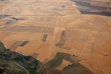 Aerial view of fields near Madrid, Spain