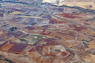 Aerial view of landscape near Madrid, Spain