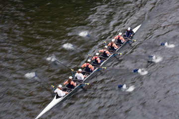 High angle view of people rowing boat in river