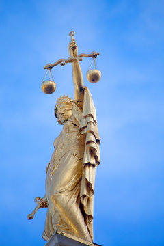Low angle view of statue of Lady of Justice