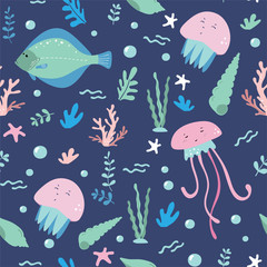 Marine life, underwater world seamless pattern for wrapping, textile, print. Sea fish, seashell, algae and sea animals: jellyfish, shells, flounder, starfish vector elements