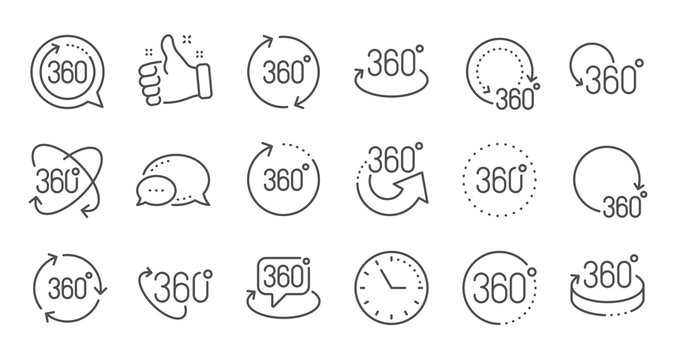 360 degrees line icons. Rotate arrow, VR panoramic simulation and augmented reality. 360 degrees virtual gaming, abstract geometry, full rotation view icons. Linear set. Quality line set. Vector