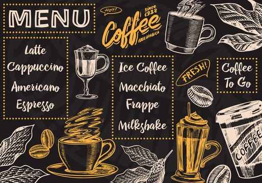 Coffee menu background in vintage style. Vector Template Banner. Hand drawn engraved poster, retro doodle sketch for Cafe. Cup and calligraphic inscription.