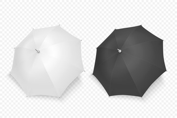 Obraz Vector 3d Realistic Render White and Black Blank Umbrella Icon Set Closeup Isolated on Transparent Background. Design Template of Opened Parasols for Mock-up, Branding, Advertise etc. Top View - fototapety do salonu