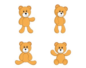 teddy bear set. cute toy standing and sitting bear in simple style. vector isolated image for children