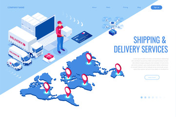 Isometric Logistics and Delivery Infographics. Delivery home and office. City logistics. Warehouse, truck, forklift, courier, drone and delivery man Wall mural
