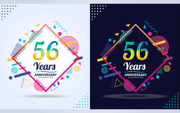 56 years anniversary with modern square design elements, colorful edition, celebration template design,