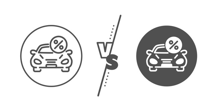 Transport loan sign. Versus concept. Car leasing percent line icon. Credit percentage symbol. Line vs classic car leasing icon. Vector