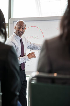 Businessman explaining graph during meeting