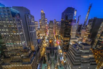 Fototapete - New York City manhattan midtown buildings at night