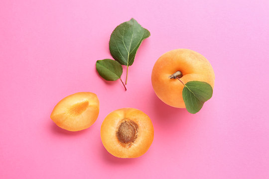 Delicious ripe sweet apricots on pink background, flat lay