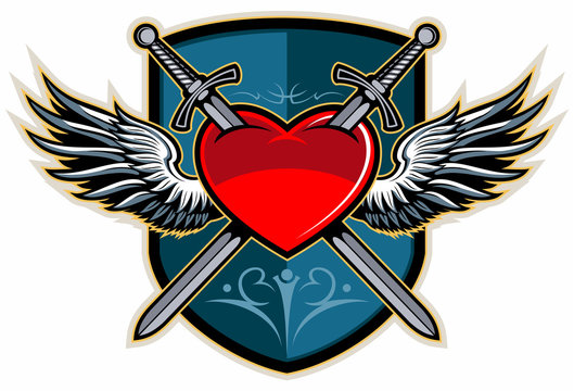 Two crossed swords piercing a heart with the wings and shield on background, medieval, vintage style vector logo.