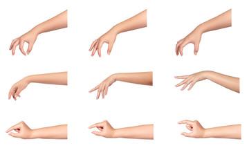 Set of female hands isolated on white background