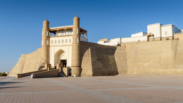 Exterior view of fortress against clear sky