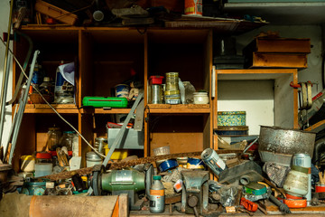 Work table of a workshop with messy tools
