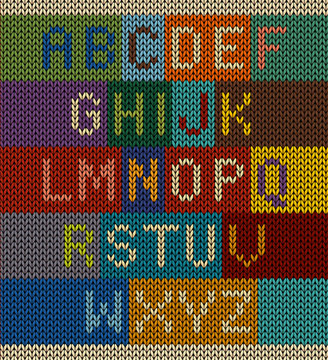 Vector knitted letter set font on knit background with various color combinations. Easy to edit.