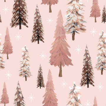 Sparkling winter forest seamless pattern with snowflakes and trees in shades of pink, ivory and brown. Vintage, natural look, great for Christmas and winter holiday cards, paper items and textiles.