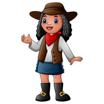 Curly hair cowgirl isolated on white background