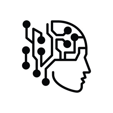 Black solid icon for artificial intelligence