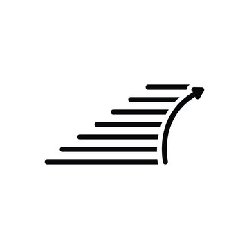 Black solid icon for stairs