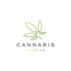 cannabis logo vector icon illustration with continuous line monoline outline style