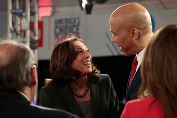 U.S. Senator Kamala Harris and U.S. Senator Cory Booker talk after the second night of the second 2020 Democratic U.S. presidential debate in Detroit