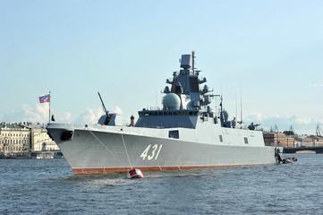 warship Admiral of the fleet Kasatonov in the Neva river in St. Petersburg
